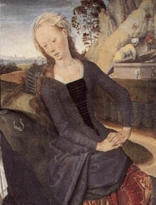 Figure 6. Hans Memling. Triptych of Adriaan Reins (detail of central panel). 1480. Bruges, Memling Museum.