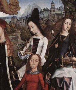 Figure 7. Master of the Legend of Saint Lucy. Detail of Virgin Surrounded by Female Saints. 1488. Brussels, Musées Royaux des Beaux-Arts.