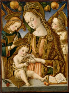 Figure 2. Vittore Crivelli. Madonna and Child with Two Angels. 1481–82. New York, Metropolitan Museum of Art.