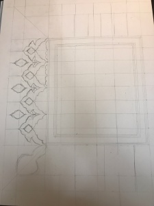 Sketching the design in pencil with guidelines. (Photo courtesy of Lady Onóra.)