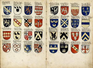 An armorial for the Cour Amoreuse, c. 1560. Jacques Le Boucq [Public domain], via Wikimedia Commons