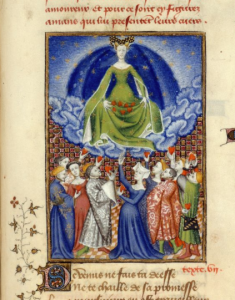 Venus presiding over a group of men and women, who are presenting their hearts to her. The Book of Queen, by Christine de Pizan (1410), f100r, MS Harley 4431. Image courtesy The British Library,