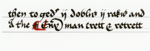 Two sample lines from the Gresley manuscript; all samples recreated by Thyra Eiriksdottir. Click for a larger view.