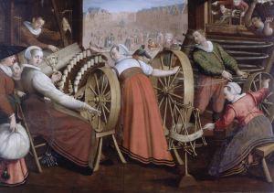 Het spinnen, het scheren van de ketting, en het weven, by Isaac Claesz van Swanenburg. Image courtesy of Museum de Lakenhal.