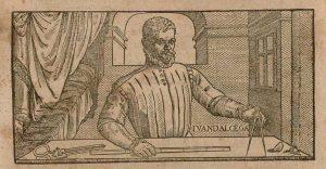Detail of the cover of Libro de geometría, práctica y traça, el qual trata de lo tocante al oficio de sastre, by Juan de Alcega, 1589. Image courtesy of Biblioteca Digital Hispánica.