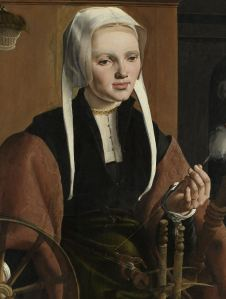 A woman using a spinning wheel equipped with a flyer. Selection from Portraits of a Couple, possibly Pieter Gerritsz Bicker and Anna Codde, Maarten van Heemskerck, 1529. Image courtesy Rijksmuseum, item #SK-A-3519.