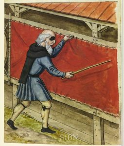 Wilhelm Blecher stretching fabric on a frame fitted with tenterhooks. From the Landauer Hausbüch, 1568, Nuremberg City Library. Amb. 279.2° Folio 46 verso.