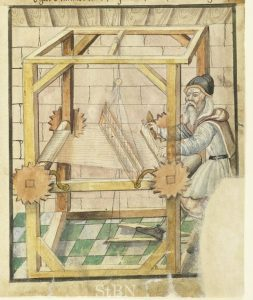 Thomas Holantt at his loom. From the Mendel Hausbüch, Nuremberg City Library. Amb. 317b.2° Folio 43 recto.
