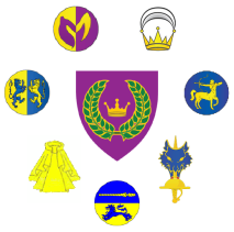 Arms of the East Kingdom surrounded by the badges of the Kingdom orders of high merit