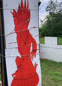 Pennsic 2019 archery, demon inside the clout.